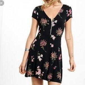 Express Floral Print Front Zip Dress